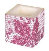 Kerze: Würfelkerze, Lace, rot, 8 x 8 x 8 cm - 1