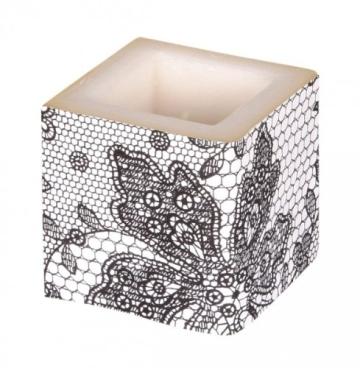 Kerze: Würfelkerze, Lace, schwarz, 8 x 8 x 8 cm - 1