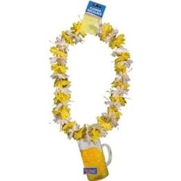 Kette: Hawaiikette, gelb-weiß, Bierkrug-Anhänger, Pappe - 1