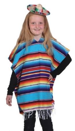 Kinderkostüm: Poncho, bunt/multicolor, Kindereinheitsgröße - 1