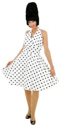 Kleid 70ziger Jahre weiß und schwarz gepunktet - 1
