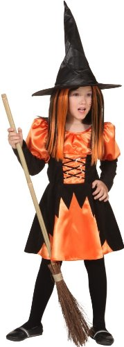 Kleid Hexe Zara orange-schwarz - 1