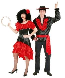 Kleid: Spanierin, schwarz-rot - 1