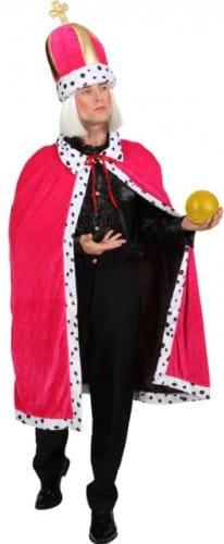 König-Kostüm: Mantel mit Mütze, pink, mit Fellabsatz, Einheitsgröße - 1