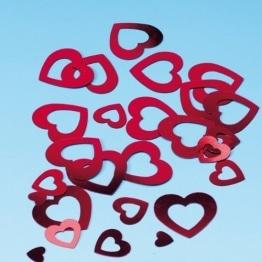 Konfetti: Herzen rot oder pink, ausgestanzt, gemischte Größen, 15 g - 1