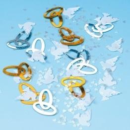 Konfetti: Ringe, Tauben und Herzen als Hochzeitsdeko - 1