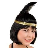 Kopfband: Charlstonband, mit Feder, gold - 1