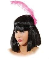 Kopfband: Charlstonband, schwarz, mit pinkfarbener Feder - 1