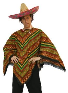 Kostüm: kurzer Mexikaner-Poncho mit Sombrero - 1