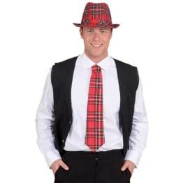 Krawatte: Karo-Krawatte, rotes Schottenmuster - 1