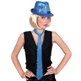 Krawatte: Pailletten-Krawatte, blau - 1