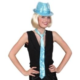 Krawatte: Pailletten-Krawatte, türkis - 1