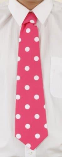 Krawatte: Schlips, pink, mit weißen Punkten, gebunden - 1