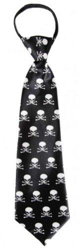 Krawatte: Schlips, schwarz, weißes Totenkopf-Motiv, gebunden, 30 cm - 1
