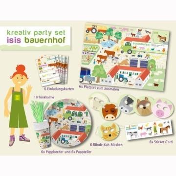 Kreativ-Party-Set: Party-Utensilien mit Bauernhof-Motiv aus Isis Wimmelwelt, 61 Teile - 1