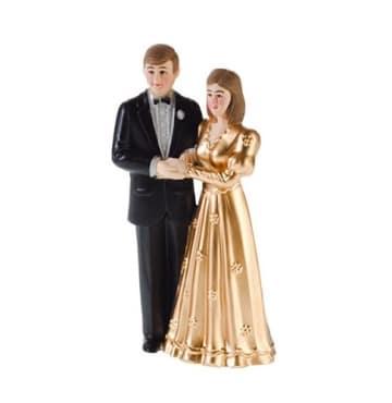 Kuchendeko: Brautpaar, 115 mm, gold - 1