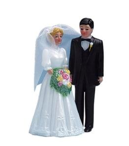 Kuchendeko Brautpaar 115mm blond, Hochzeitstorte Dekoration - 1