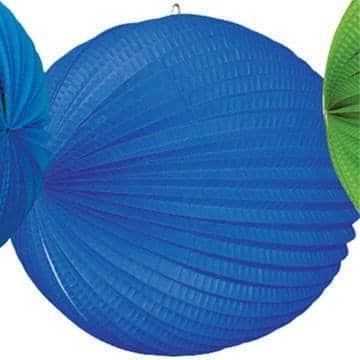 Lampion: 25 cm, blau, mit Kerzenhalter - 1