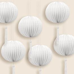 Lampion: Mini-Lampion mit Bommel, weiß, 12 cm Durchmesser, 6er-Pack - 1