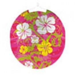 Lampion: Sommer-Lampion, Hibiskus-Motiv, 25 cm Durchmesser - 1
