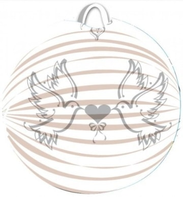 Lampion, weiß, bedruckt mit Tauben, 22 cm - 1
