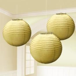 Laterne: Papierlaterne, rund, gold, 24 cm, 3er-Pack - 1