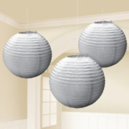 Laterne: Papierlaterne, rund, silber, 24 cm, 3er-Pack - 1