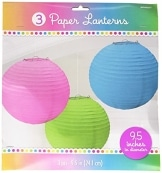 Laterne: Papierlaterne, rund, verschiedene Farben, 24 cm, 3er-Pack - 1
