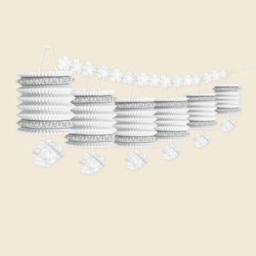 """Laternengirlande """"Hochzeitsglocken"""": weiß, 370 cm lang, 6 Lampions - 1"""