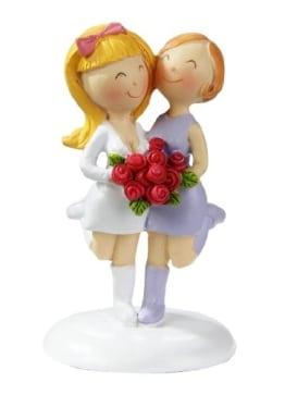 Lesbisches Hochzeitspaar: Frauen-Brautpaar, 9 cm, Polyresin - 1
