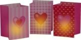 Lichttüten, mit Herzen bedruckt, 16 cm Höhe, 115 x 115 mm Standfläche, 3er-Pack - 1