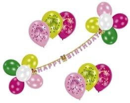 """Luftballon-Deko-Set: Ballons mit Pferden und Buchstabenkette """"Happy Birthday"""" - 1"""