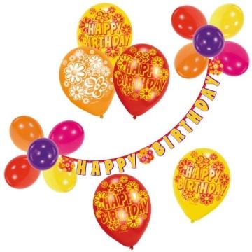 """Luftballon-Deko-Set: Ballons und Buchstabenkette """"Happy Birthday"""" - 1"""