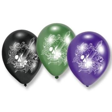 """Luftballon: Luftballons, Motiv """"Totenkopfparty"""", verschiedene Farben, 70 cm Umfang, 6 Stück - 1"""