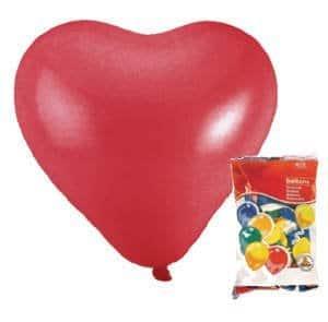 Luftballons: 100 rote Herzballons, 60 cm Umfang - 1