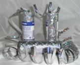Luftschlange, silberglänzend mit Holoeffekt, 18 Streifen zu 7 mm, 4 m - 1