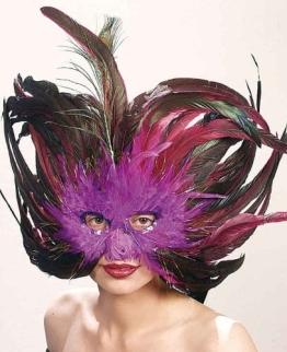 Maske: Federmaske, lila-braun - 1