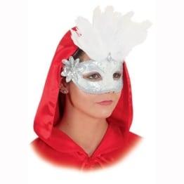 Maske: venezianische Halbmaske mit weißen Federn, weiß-silber - 1