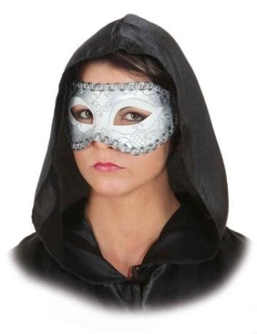 Maske: venezianische Halbmaske, weiß-silber - 1