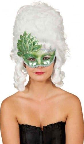 Maske: venezianische Maske, mit Blattdekor, grün - 1