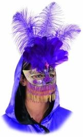 Maske: venezianische Maske, mit Federn und Perlenbehang, lila-gold - 1