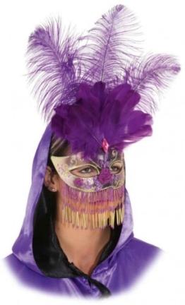 Maske: venezianische Maske, mit Federn und Perlenbehang, silber-schwarz - 1