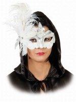 Maske: venezianische Maske, mit Federn, weiß - 1