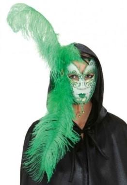 Maske: venezianische Maske mit grünem Federschmuck, weiß - 1