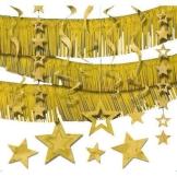 Mega-Deko-Set, gold, mit Girlanden, Sternen, Deckenhängern, Rotorspiralen, 22-teilig - 1