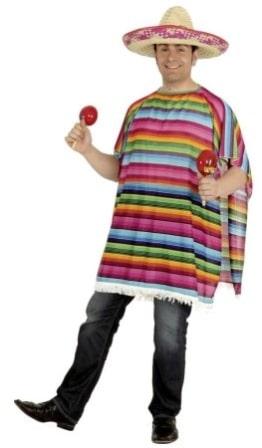 Mexikanischer Poncho, bunt-gestreift, Einheitsgröße - 1