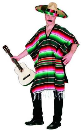Mexikanischer Poncho, rot-gestreift, Einheitsgröße - 1