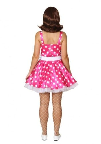 Minikleid mit Petticoat und Gürtel pink und weiß gepunktet - 2