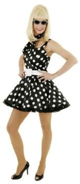 Minikleid mit Petticoat und Gürtel schwarz – weiß gepunktet - 1