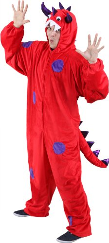 Monster-Kostüm: Overall mit Kapuze, rot, lila Punkte, verschiedene Größen - 1